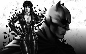 Картинка грудь, девушка, batman, the dark knight, маска, арт, костюм, красавица, Женщина-кошка, супергерой, DC Comics, Catwoman, ...