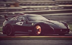 Картинка дорога, машина, скорость, черная, Ferrari, 599 xx