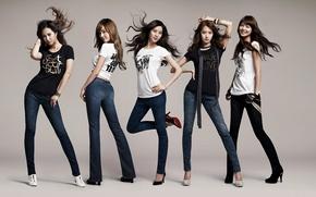 Обои музыка, девушки, волосы, джинсы, группа, азиатки, южная корея, SNSD, So Nyeo Shi Dae, Girls Generation