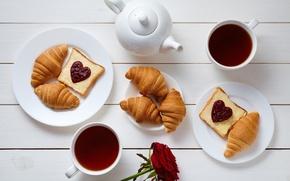 Обои кофе, завтрак, сердечки, love, rose, heart, cup, romantic, coffee, croissant, breakfast, круассан