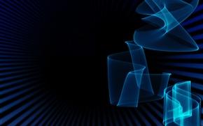 Картинка цвета, полоски, синий, фон, черный, Абстракция