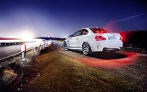 Картинка дорога, свет, бмв, сзади, BMW 1M