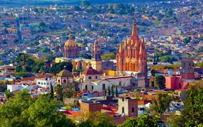 Картинка город, фото, дома, Мексика, San Miguel de Allende
