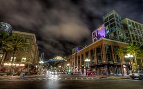Картинка дорога, небо, город, дома, выдержка, USA, США, Сан Диего