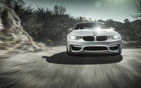 Картинка BMW, Sky, Front, Vorsteiner, Sun, White, Tuning, Road, Wheels, Ligth