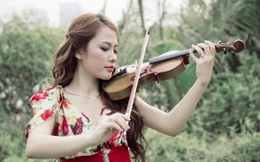 Картинка девушка, скрипка, музыка, азиатка