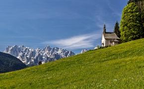 Картинка трава, горы, склон, Альпы, церковь