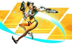 Картинка девушка, пистолеты, blizzard, art, fan art, fps, Overwatch, Tracer