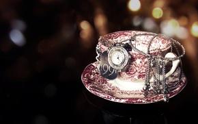 Картинка часы, чашка, браслеты, блюдце, cap