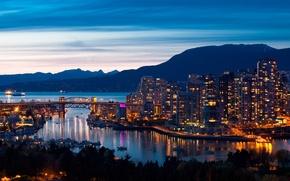 Картинка море, небо, пейзаж, горы, мост, город, дома, корабли, вечер, порт, панорама, vancouver canada, огни ., …