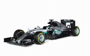 Обои формула 1, фон, болид, Formula 1, AMG, W07, мерседес, Mercedes