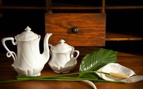 Картинка цветок, стол, чайник, натюрморт, сахарница