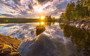 Картинка деревья, закат, озеро, отражение, лодка, Норвегия, Norway, Рингерике, Ringerike