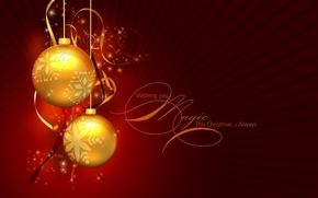 Обои шарики, Рождество, пожелание