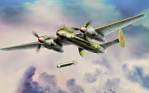 Картинка war, art, airplane, painting, aviation, ww2, Tupolev Tu-2, daylight bomber, russian bomber, box art