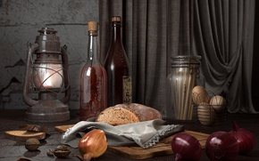 Картинка вино, лампа, яйца, лук, хлеб, орехи, натюрморт на сельскую тему