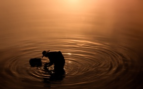 Обои sunset, fisherman, lake, water