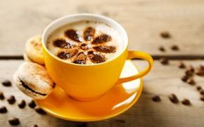 Картинка макарун, cup, чашка, пирожное, кофе, beans, coffee