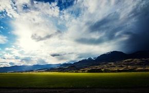 Картинка поле, облака, горы, bo0xVn