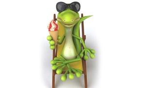 Картинка character, funny, ice cream, reptile