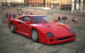 Картинка Красный, Авто, Машина, Феррари, Люди, Ferrari, F40, Графика, Суперкар, Рендеринг, Supercar, Ferrari F40, F 40, …