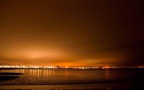 Обои море, пейзаж, закат, природа, city, город, река