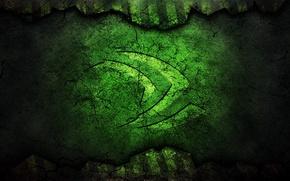 Картинка трещины, зеленый, логотип, технологии, nvidia