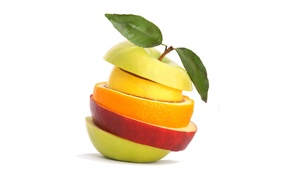 Обои цвета, яблоко, апельсин, фрукты, обои, нарезка