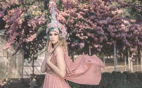 Картинка цветы, Alba Viqueira, макияж, девушка, маникюр