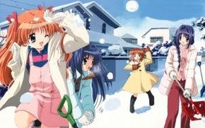 Картинка зима, снег, девочки, игра, аниме, арт, Kanon
