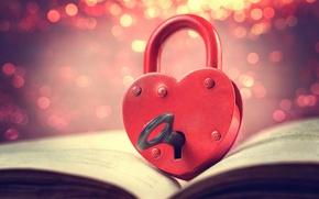 Картинка фон, замок, widescreen, обои, настроения, сердце, размытие, ключ, книга, wallpaper, сердечко, heart, книжка, широкоформатные, background, …