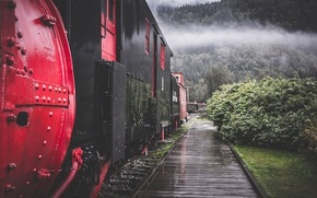 Картинка mountains, clouds, train, railway, railroad, rainy