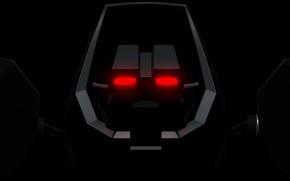 Картинка dark, red, robot, front