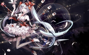 Картинка карты, девушка, цветы, птицы, аниме, перья, арт, vocaloid, hatsune miku, amatsukiryoyu