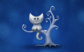 Картинка зима, снежинки, улыбка, дерево, чеширский кот