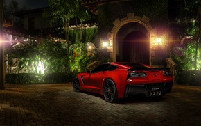 Обои chevrolet corvette, c7, z06, red, hq wallpaper, автообои