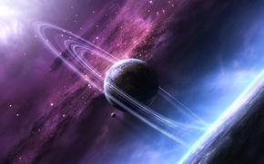 Картинка космос, звезды, свет, сияние, планеты