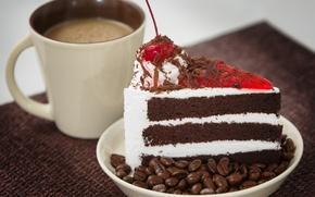 Картинка кофе, чашка, торт, вишенка, крем, кусок