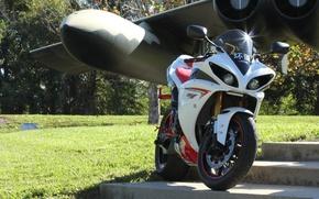 Обои крыло, ямаха, bike, самолет, мотоцикл, white, yzf-r1, yamaha