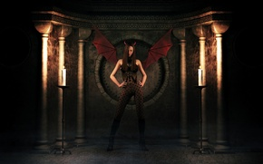 Обои Девушка, крылья, свечи, демон, костюм, тени, рожки