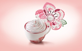 Картинка розовый, кружка, крем, десерт