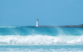 Картинка море, волны, маяк, небо, синий, пляж, брызги