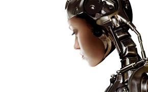 Картинка обои, девушка, робот, фон