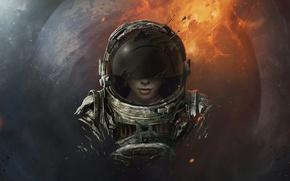Картинка лицо, Космос, скафандр, девушка.