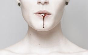Картинка girl, blood, François Vendiol, Drool, livid, pale, dripping