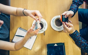 Картинка coffee, tablet, communication, mobile phone