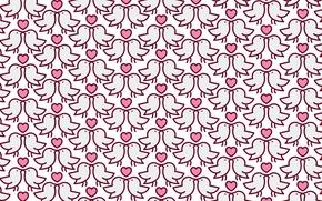 Картинка любовь, праздник, сердце, птички, тестура, голубы