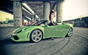 Картинка Girl, Gallardo, Model, Green, Lambo