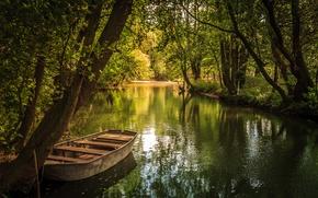 Обои парк, озеро, пруд лодка, лето