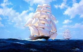 Картинка море, волны, небо, облака, парусник, картина, J. Steven Dews